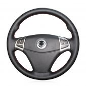 For Ssangyong Korando 2011 2012 2013 2014, Black Leather Sides Perforated Stitched Wrapped Steering Wheel Cover