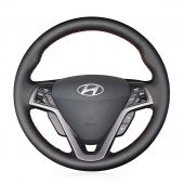 For Hyundai Veloster 2011-2017, Customize Black Leather Sides Perforated Hand Sew Steering Wheel Wrap Cover