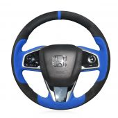 For Honda Civic Civic 10 2016-2019 CRV CR-V 2017 2018 2019 Clarity 2016 2017 2018, Black Blue Suede Hand Sew Steering Wheel Cover