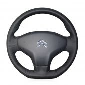 For Citroen Elysee C-Elysee New Elysee 2014 Peugeot 301 2013 2014 2015 2016, Black Leather Sides Perforated Steering Wheel Cover