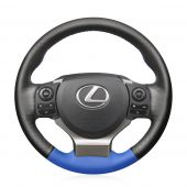 For Lexus IS200t 2016 2017 IS250 2014 2015 IS300 2016-2019 IS350 2014-2019 IS F-Sport 2014-2016, Black Perforated Blue Artificial Leather Stitch Steering Wheel Cover