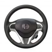For Honda CR-Z  CRZ 2011 2012  2013 2014 2015 2016, Custom Black Leather Sides Perforated Wrap Steering Wheel Cover