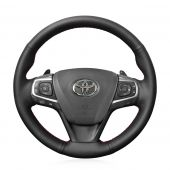 For Toyota Camry 2015 2016 2017 Avalon 2013 2014 2015 2016 2017 2018, Genuine Leather Wrap Steering Wheel Cover