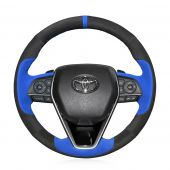 For Toyota Camry 2018 2019, Custom Blue Black Suede With Marker Hand Sew Steering Wheel Wrap Cover