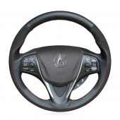 For Acura TLX 2015 2016 2017 2018, Design Genuine Leather Suede Hand Stitch Steering Wheel Wrap Cover