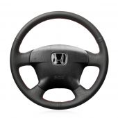 For Honda Civic 2001 2002 Civic Hybrid 2003, Black Genuine Leather Hand Sew Steering Wheel Wrap Cover