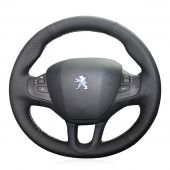 For Peugeot 208 Peugeot 2008, Custom Genuine Leather Suede Hand Stitched Steering Wheel Cover