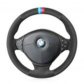 For BMW E39 5 Series 1999-2003 E46 3 Series 1999-2005 E53 X5 2000-2006 E36 Z3 1996-2002,  Black Suede Stitched Protector Steering Wheel Cover
