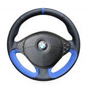 For BMW E39 5 Series 1999-2003 E46 3 Series 1999-2005 E53 X5 2000-2006 E36 Z3 1996-2002, Black Leather Blue Suede Stitch Steering Wheel Wrap Cover
