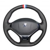 For Peugeot 3008 2013 2014 2015, Custom Black Leather Suede Hand Sewn Steering Wheel Cover