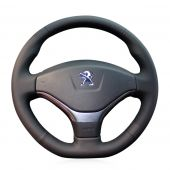 For Peugeot 308 2012 2013 2014, Custom Genuine Leather Hand Sewing Steering Wheel Wrap Cover