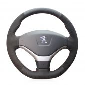 For Peugeot 308 2012 2013 2014, Design Your Leather Suede Stitch Wrapped Steering Wheel Cover