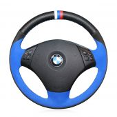 For BMW E90 320 318i 320i 325i 330i 320d X1 328xi 2007, Leather Suede Hand Sew Steering Wheel Wrap Cover