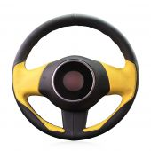 For FIAT 500 2008-2012, Design Genuine Leather Suede Hand Sewn Wrapped Steering Wheel Cover