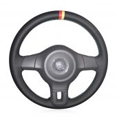 For Volkswagen Golf 6 Mk6 2010 2011 2012 2013  VW Polo MK5 2010 2011 2012 2013,  Custom Hand Sewing Wrap Steering Wheel Cover