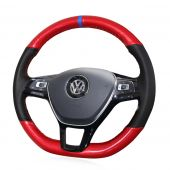 For Volkswagen VW Golf 7 Mk7 New Polo Jetta Passat B8 Tiguan 2017 Sharan 2016 2017 Touran 2016 2017 Up,  Custom Carbon Fiber Leather Steering Wheel Cover