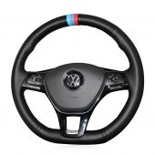 For Volkswagen VW Golf 7 Mk7 New Polo Jetta Passat B8 Tiguan Sharan Touran 2016 2017 Up, Custom Genuine Leather Sew Steering Wheel Wrap Cover