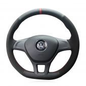 For Volkswagen VW Golf 7 Mk7 New Polo 2014 2015 2016 2017, Design Leather Suede Hand Sewing Steering Wheel Wrap Cover