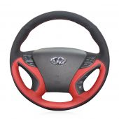 For Hyundai Sonata Sonata 8 2011 2012 2013 2014, Custom Red Perforated Leather Black Suede Steering Wheel Cover