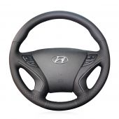 MEWANT Customize Black Genuine Leather Hand Stitch Car Steering Wheel Cover Wrap for Hyundai Sonata 2011 2012 2013 2014