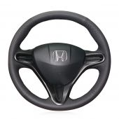 For Honda Civic Civic 8 2006 2007 2008 2009 2010 2011 (3-Spoke), Black Leather Sides Perforated Steering Wheel Cover