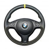 MEWANT Hand Stitch Black Genuine Leather Suede Car Steering Wheel Wrap Cover for BMW M Sport E46 330i 330Ci / E39 540i 525i 530i / M3 E46 / M5 E39