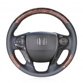 For Honda Accord 9 2013-2017 Crosstour 2013 2014 2015, Dark Wood Grain Leather Stitched Steering Wheel Cover