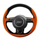 For Audi A1 A3 A5 A7, Custom Genuine leather Suede Hand Sew Wrap Steering Wheel Cover