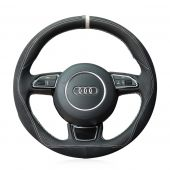 For Audi A1 A3 A5 A7, Custom Genuine Leather Suede Hand Sew Protector Steering Wheel Cover