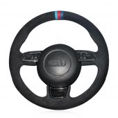 For Audi A1 A3 A5 A7, Customize Suede With Marker Steering Wheel Cover Skin