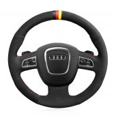 For Audi A3 (8P) 2008-2013 A4 (B8) 2008-2010 A5 2008-2010 A6 (C6) 2007-2011, Suede Marker Hand Sew Steering Wheel Cover