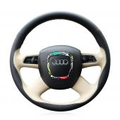 For Audi Old A4 B7 B8 A6 C6 2004-2011 Q5 2008-2012 Q7 2005-2011, Design Leather Suede Steering Wheel Wrap Cover