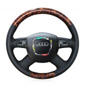For Audi Old A4 B7 B8 A6 C6 2004-2011 Q5 2008-2012 Q7 2005-2011, Custom Wood Grain Leather Sewing Steering Wheel Cover