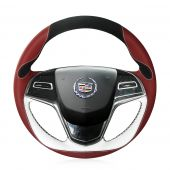 For Cadillac ATS 2013 2014 2015 CTS 2014 2015 2016, Design Leather Suede Hand Sew Steering Wheel Wrap Cover