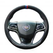 For Cadillac ATS 2013 2014 2015 CTS 2014 2015 2016, Custom Leather With Marker Sewing Steering Wheel Cover