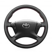 For Toyota Avensis 2003 2004 2005 2006 2007, Customize Genuine Leather Hand Sew Steering Wheel Cover