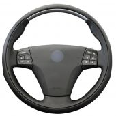 For Volvo C70 2008 2009 2010, Customize Black Leather Hand Sewing Wrapped Steering Wheel Cover
