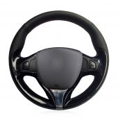 For Renault Clio 2013 2014 2015 Captur 2014 2015 2016 2017, Black Leather Hand Sewing Wrap Steering Wheel Cover