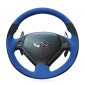 For Infiniti G G25 G35 G37 2007-2013 EX EX35 EX37 2008-2013 Q Q40 Q60 2014-2015 QX50 (US) 2014-2018, Blue Black Suede Sew Steering Wheel Cover