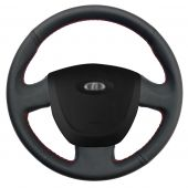 For Lada Granta 2011-2016, Design Black Leather Suede Hand Sewing Wrapped Steering Wheel Cover