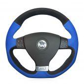 For Volkswagen Golf 5 Mk5 GTI  VW Golf 5 R32 Passat R GT 2005, Blue Black Suede Hand Sew Steering Wheel Wrap Cover