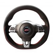 For Volkswagen Golf 6 GTI MK6 VW Polo GTI Scirocco R Passat CC R-Line 2010, Customize Hand Stitch Wrap Steering Wheel Cover