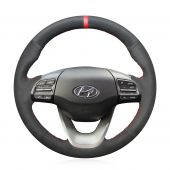 MEWANT Custom Hand Sew Black Suede With Red Marker Car Steering Wheel Wrap Cover for Hyundai Kona 2017 2018 2019 2020