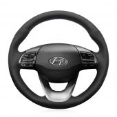 Hand Sewing Customize Black Leather Car Steering Wheel Wrap Cover for Hyundai Kona 2017 2018 2019 2020