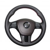 For Volkswagen VW Touareg 2011-2017, Design Black Leather Hand Stitch Steering Wheel Wrap Cover