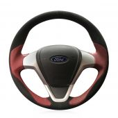For Ford Fiesta 2008-2013 Ecosport 2013 2014 2015 2016, Custom Leather Suede Sewing Steering Wheel Cover
