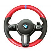 For BMW F87 M2 F80 M3 F82 M4 M5 F12 F13 M6 F85 X5 M F86 X6 M F33 F30 M, Custom Carbon Fiber Leather Steering Wheel Cover