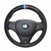 For BMW M3 2009-2013 E92, Customize Leather Suede With Marker Hand Sew Steering Wheel Wrap Cover
