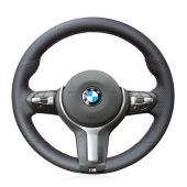 For BMW F87 M2 F80 M3 F82 M4 M5 F12 F13 M6 F85 X5 M F86 X6 M F33 F30 M, Black Leather Sewing Steering Wheel Cover