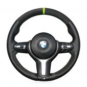 For BMW F87 M2 F80 M3 F82 M4 M5 F12 F13 M6 F85 X5 M F86 X6 M F33 F30 M, Black Leather Suede Sew Steering Wheel Cover